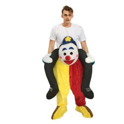 Piggy Back Carry Me Costume Blue Eyebrow Clown Ride on Halloween Christmas for Adult