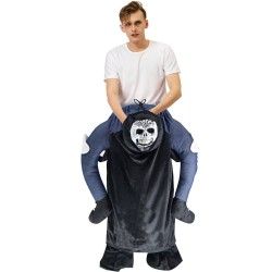 Piggy Back Carry Me Costume Black Ghost Skeleton Ride on Halloween Christmas for Adult