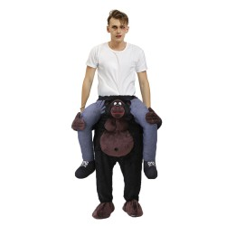 Piggy Back Carry Me Costume Black Gorilla Ride on Halloween Christmas for Adult