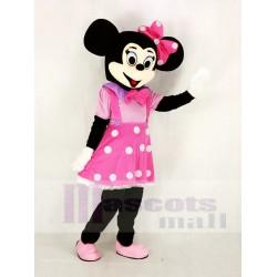 Cute Minnie Mouse in Pink Dress Mascot Costume Cartoon