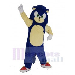 Blue Hedgehog Sonic Mascot Costume with Green Eyes