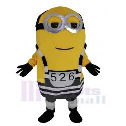 Minion Mascot Costume Cartoon in Prison Uniform from Despicable Me