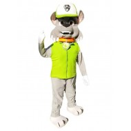 Paw Patrol Rocky Gray Dog Mascot Costume in Green Vest Cartoon