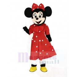 Minnie Mouse Mascot Costume in Red Dress Cartoon