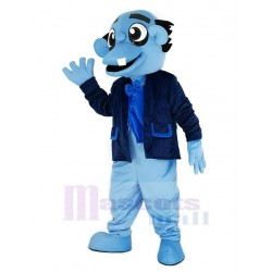 Blue Ghost Mascot Costume with Black Coat