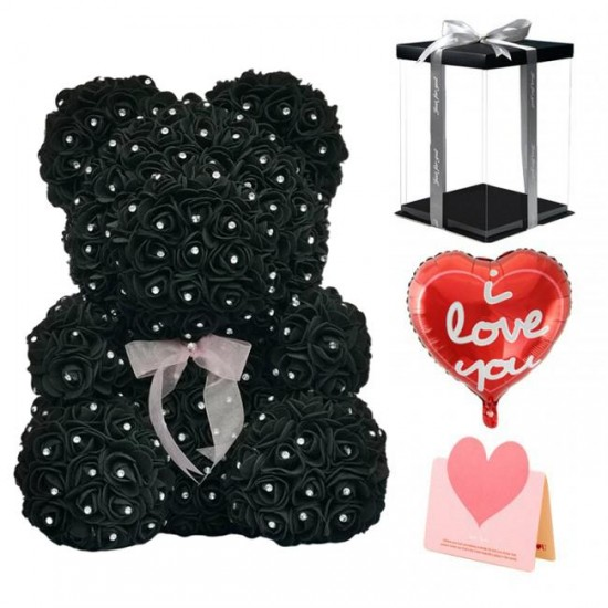Diamond Rose Teddy Bear Flower Bear Best Gift for Mother's Day, Valentine's Day, Anniversary, Weddings and Birthday
