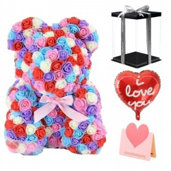 Newstyle Rose Teddy Bear Flower Bear Multicolor Best Gift for Mother's Day, Valentine's Day, Anniversary, Weddings and Birthday