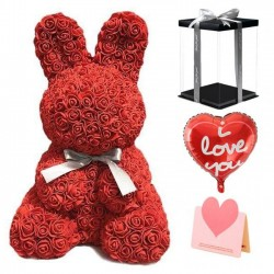 Rose Rabbit Flower Rabbit Best Gift for Mother's Day, Valentine's Day, Anniversary, Weddings and Birthday