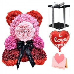 Exclusive Rainbow Pearl Rose Teddy Bear Best Gift for Mother's Day, Valentine's Day, Anniversary, Weddings and Birthday