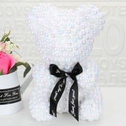 Exclusive White Pearl Rose Teddy Bear Best Gift for Mother's Day, Valentine's Day, Anniversary, Weddings and Birthday
