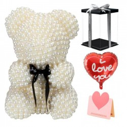 Exclusive Beige Pearl Rose Teddy Bear Best Gift for Mother's Day, Valentine's Day, Anniversary, Weddings and Birthday