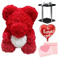 Rose Teddy Bear Flower with Heart Best Gift for Mother's Day, Valentine's Day, Anniversary, Weddings and Birthday