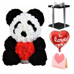 Panda Rose Bear with Heart Best Gift for Mother's Day, Valentine's Day, Anniversary, Weddings and Birthday