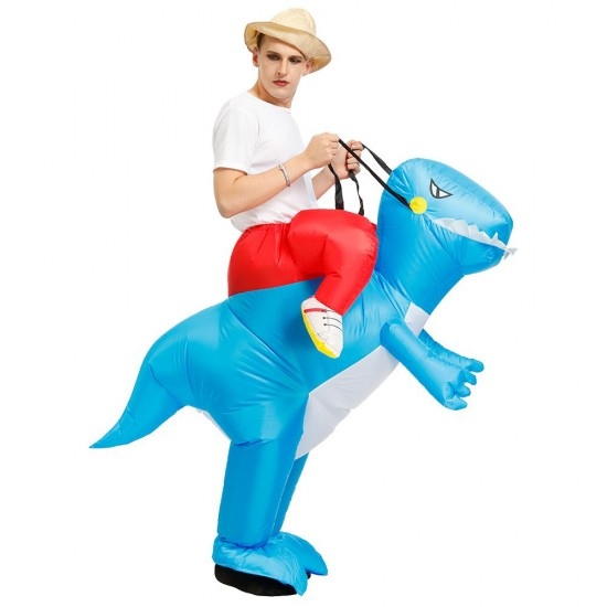 Blue Dinosaur Ride on Inflatable Costume Blow up