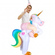 Unicorn with Rainbow Tail Carry me Ride on Inflatable Costume