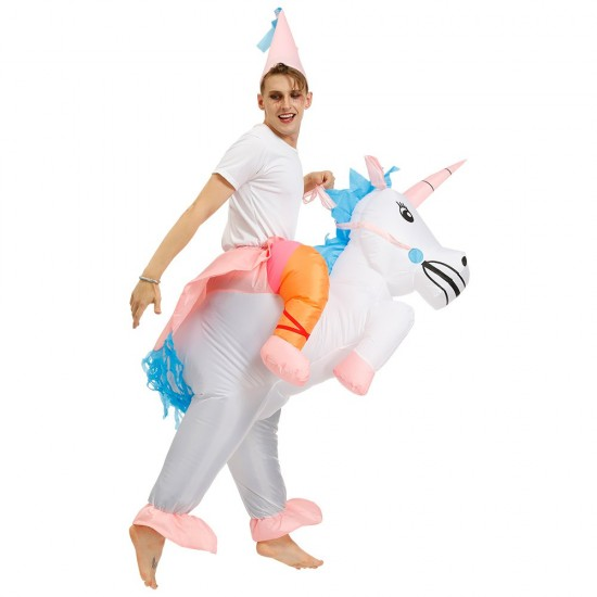 Unicorn with Pink Corn Carry me Ride on Inflatable Costume