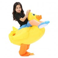 Yellow Duck with Eyelashes Carry me Ride on Inflatable Costume
