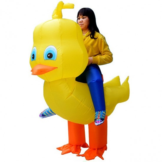 Yellow Duck with Big Head Carry me Ride on Inflatable Costume