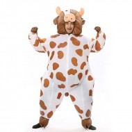 Cow Milk Cattle Inflatable Costume Halloween Christmas Coffee Color