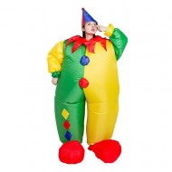 Clown with Blue and Red Hat Inflatable Costume Halloween Christmas for Adult