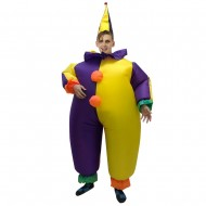 Clown in Purple and Yellow Inflatable Costume Halloween Christmas for Adult