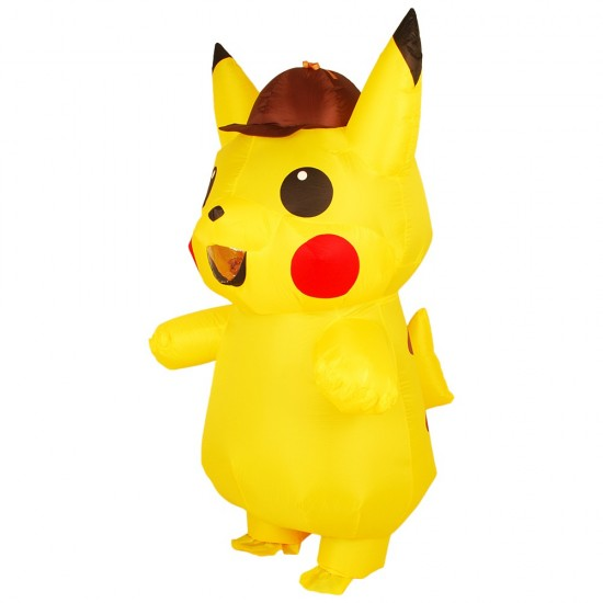 Yellow Pikachu with Hat Inflatable Costume Air Blow up Cosplay