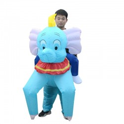 Blue Elephant Carry me Ride on Inflatable Costume Halloween Christmas for Adult