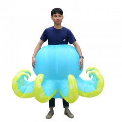 Blue Octopus Squid Inflatable Costume Halloween Christmas for Adult