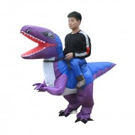 Blue and Purple Velociraptor Dinosaur Carry me Ride on Inflatable Costume for Adult