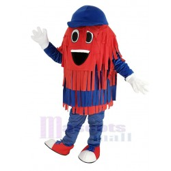 Blue and Red Car Wash Cleaning Brush Mascot Costume with Blue Hat