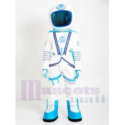 Astronaut Mascot Costume in White and Light Blue Spacesuit People