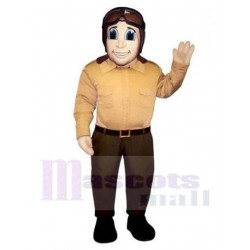 Airplane Pilot Mascot Costume with Brown Flying Sunglasses People